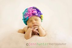 newborn hat photo prop crochet PATTERN PDF 50 can be made plain with mohawk or pompom. $3.75, via Etsy.