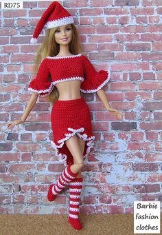 Irresistible Crochet a Doll Ideas. Radiant Crochet a Doll Ideas. Sewing Barbie Clothes, Knitting Dolls Clothes, Barbie Clothes Patterns, Crochet Doll Clothes, Crochet Toys, Dress Patterns, Crochet Barbie Patterns, Crochet Doll Dress, Barbie Wardrobe