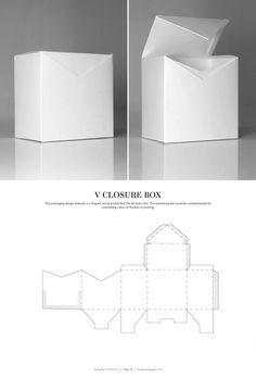 & DIELINES II: The Designer's Book of Packaging Dielines V Closure Box – FREE resource for structural packaging design dielinesV Closure Box – FREE resource for structural packaging design dielines Packaging Dielines, Paper Packaging, Brand Packaging, Box Packaging, Packaging Nets, Diy Box, Packaging Design Inspiration, Box Design, Package Design Box