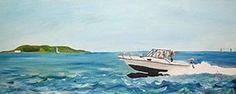 Oil on canvas, boating in the Irish Sea with Lambay Island in the background. Harmony Design, Handmade Clocks, Irish Sea, Craft Shop, Poppy, Oil On Canvas, Waves, Graphic Design, Island