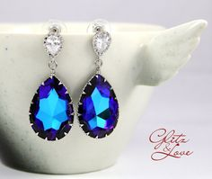 Heliotrope Crystal Earrings,