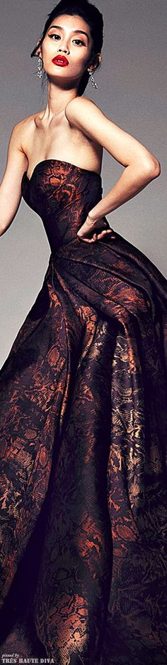Tapestry bronze gown