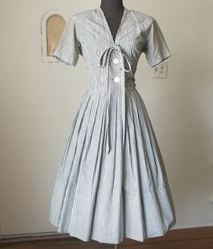Vintage 40's Day Dress Sailor Style Gray and by momodeluxevintage