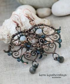 "Earrings ""FOG"" Moonstone (adularia), labradorite, czech glass, copper"
