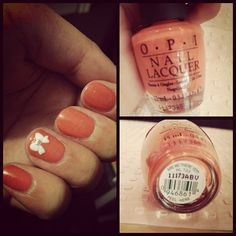 products: #OPI - are we there yet & #deconails #nailat stickers  #nails #nailswag #coral #bow #girliemoment #nailpolish