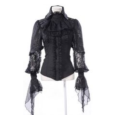 Victorian Aristocrat Gothic Lolita Black Ruffle Shirt  These Shirts sell really well...!