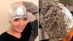 Si quieres un cabello despampanante utiliza esta mezcla natural con papel aluminio.