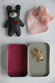 MOUSE TEDDY DOLL in tin house