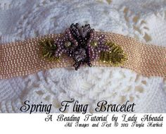 Peyote Beading Tutorial Spring Fling Bracelet in Pink, Lavender and Green INSTANT DOWNLOAD via Etsy