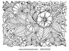 stock-vector-zentangle-floral-doodles-in-black-and-white-coloring-pages-for-adult-relaxing-job-406470532.jpg (450×330)