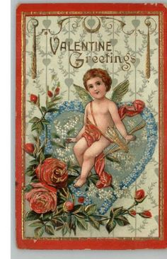 Valentine - Cupid on Big Blue Heart GOLD EMBOSSED c1910 Postcard
