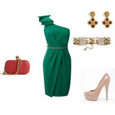 Wedding guest outfit in Emerald