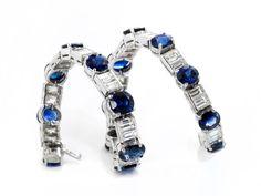 Länge: ca. 18 cm. Gewicht: ca. 21,7 g. WG 750. Klassisch elegantes hochwertiges Armband mit feinen rund und oval facettierten Saphiren, zus. ca. 19 ct, und...