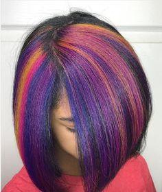 Short Haircuts Ideas : Fun color by blackhairinformat Exotic Hair Color, Vivid Hair Color, Hair Dye Colors, Vivid Colors, Color Pop, 2015 Hairstyles, Creative Hairstyles, Cool Hairstyles, Hairstyle Ideas