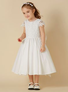 f2503a9597b A-Line Knee Length Flower Girl Dress - Cotton   Lace Short Sleeve Scoop  Neck with Bow(s) by LAN TING BRIDE®