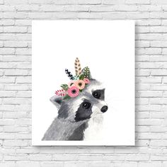 Watercolor Racoon, Woodland Nursery Art, Animal Paintings, Animal Wall Art, Childrens Wall Decor, Kids Art Print, Racoon artwoodland by zuhalkanar on Etsy https://www.etsy.com/listing/273686872/watercolor-racoon-woodland-nursery-art