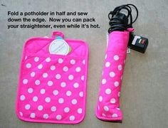 DIY flat iron or curling iron holder. why didn't I think of that? Curling Iron Holder, Flat Iron Holder, Straightener Holder, Curling Rods, Sewing Crafts, Sewing Projects, Craft Projects, Craft Ideas, Simple Projects