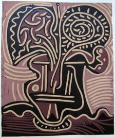 PABLO PICASSO – Le vase de fleurs (Vase of flowers), 1959 Linocut