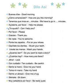 A printable list of common phrases to use with kids learning Spanish.
