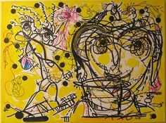 Yellow black dots art abstract painting by RegiaArt 18 x 24 inches, $750