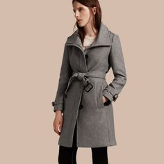 Technical Wool Cashmere Funnel Neck Coat