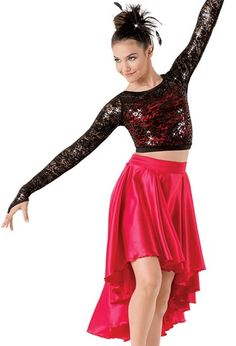 """Salsa Style Black Sequin Lace over Stretch Satin Top and Red Satin Skirt - """"For You"""""""