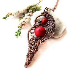 Autumn Rose Necklace, Wire Wrapped Copper Autumn Pendant, Elvish... ($42) ❤ liked on Polyvore featuring jewelry, necklaces, red pendant, boho necklace, rose pendant, copper pendant necklace and copper jewelry