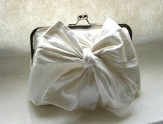 Ivory Clutch Bridal Purse with a Bow.