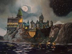 Castle Painting by Tim Loughner - Hogwart's Castle Fine Art Prints and Posters for Sale Fanart Harry Potter, Arte Do Harry Potter, Harry Potter Painting, Theme Harry Potter, Harry Potter Movies, Harry Potter Hogwarts, Harry Potter World, Harry Potter Castle, Slytherin