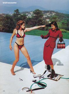 Cindy and Helena by Helmut Newton, 1991 #Cindy Crawford #Helena Christensen #helmut newton #1991 #Vogue Us #fashion