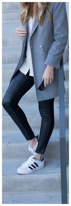 Chic Menswear Inspired Look. Menswear Inspired Outfit. Gray Coat and Black Leggings. Gray Outwerwear. Grey Jacket for Winter- Life By Lee