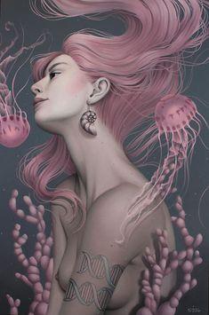 Sarah Joncas - Primordial #painting #portrait #illustration