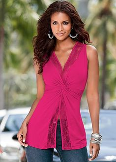 FUCHSIA Lace detailed knot top from VENUS