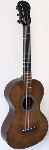 Early Musical Instruments, antique Romantic Guitar by René Lacôte dated 1829