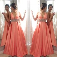 Simple Prom Dresses, Orange v neck beads long prom prom, orange evening dress for teens From petite prom dress styles to plus size prom dresses, short dress to long dresses and more,all of the 2020 prom dresses styles you could possibly want! Pageant Dresses For Teens, Fitted Prom Dresses, Straps Prom Dresses, Elegant Bridesmaid Dresses, V Neck Prom Dresses, Prom Dress Stores, Beaded Prom Dress, Plus Size Prom Dresses, Formal Dresses For Women