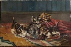 Vintage French Painting of a Room of Cats Original by AbbyinFrance