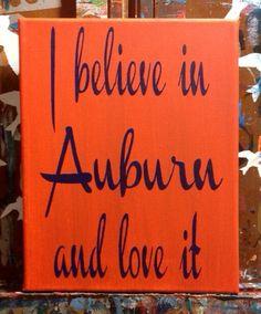 I Believe in Auburn - Original Painting - Auburn Creed - War Eagle - 8x10 on Canvas on Etsy, $20.00