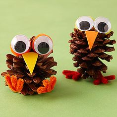 Glue google eyes onto small pom-poms and let them dry. Help your kids fold chenille stems into legs and feet and glue them onto the pinecone. Cut out a triangular beak from orange or yellow foam. Glue on the eyes and the beak; let the creature dry completely before beginning a fun game of make-believe with your kids.