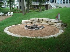outdoor firepit area, simple clean pretty yard, and love ...