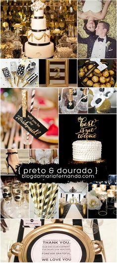 Decoração de Casamento : Paleta de Cores Preto e Dourado