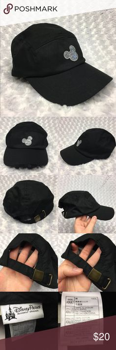Black Baseball hat w Silver Sequin Mickey Shape Authentic Disney Park Black Baseball hat with Silver Sequin Mickey Mouse Silhouette Size: Adult Condition: New, barely noticeable markings on the back where you tighten and loosen the hat from the metal clasp.   * See photos for measurements and more details *  Please note: Color may vary slightly due to different display screen calibrations.  [H-26] Disney Parks Accessories Hats