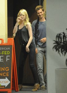 And this GIF of Emma dancing while Andrew laughs: | Emma Stone And Andrew Garfield Won 2012