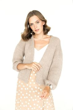 """Some cardigans were created to look luxurious and eye-catching. Here is a perfect example of how simplicity can coexist with luxury and style and be a part of many different looks. From most elaborate evening style to a cozy """"dinner with close friends"""" mood - it will add a texture of knitwear and warmth of alpaca wool to your activities. Beige open cardigan. Nude mohair sweater. Spring fashion inspiration. Fashion trends 2021 2022. Style inspiration. Classy knitwear ideas. Mohair Sweater, Knit Cardigan, Open Cardigan, Wedding Cardigan, Montages, Oversized Cardigan, Alpaca Wool, Sustainable Fashion, Spring Fashion"""