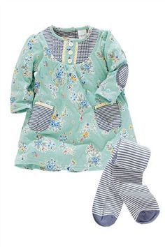 Buy Green Printed Dress And Tights Two Piece Set (0-18mths) from the Next UK online shop