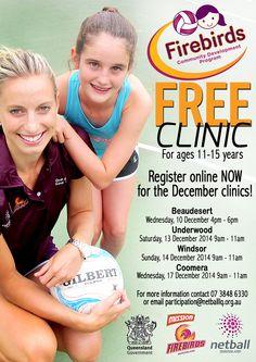 QLD Firebirds free fan clinic for budding netball fans