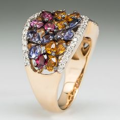 Citrine Tanzanite & Garnet Cocktail Ring w/ Diamond Accents 14K Gold