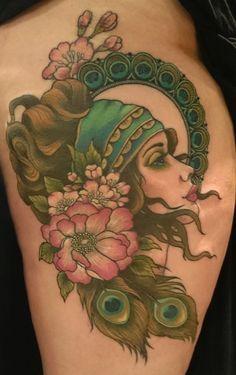 Gypsy moon circle floral peacock tattoo. Nikki Andrews Farino
