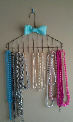 A re-purposed hanger I made into a neclace holder!