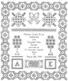 An attractive sampler with Celtic knot symbols and border, the bride's and groom's initials and details of the wedding ceremony.