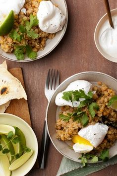Dal With Poached Eggs, Cilantro and Yogurt by Amaryll Schwertner, wsj: Dal, an aromatic, soupy stew, is a staple of the India. Made with legumes that have been flavored with peppy spices ( like ginger and coriander), it's often eaten plain or spooned over basmati rice. Here, a thick red lentil dal is brightened with tart plain yogurt and fresh cilantro leaves. A flavorful dish whose crowning glory is a pair of just-set poached eggs, it makes India's go to food ideal for brunch. #Dal #Eggs
